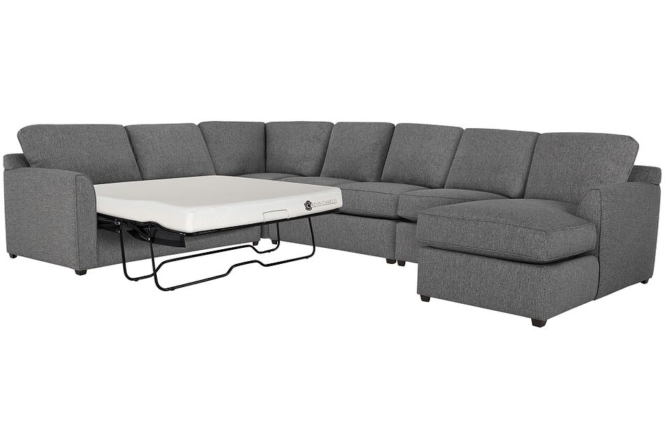 Asheville Gray Fabric Right Chaise Memory Foam Sleeper Sectional
