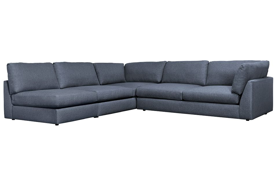 Harper Dark Blue Fabric Large Right Arm Sectional