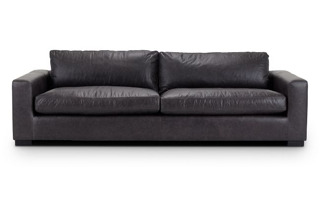 "Bohan 103"" Black Leather Sofa"