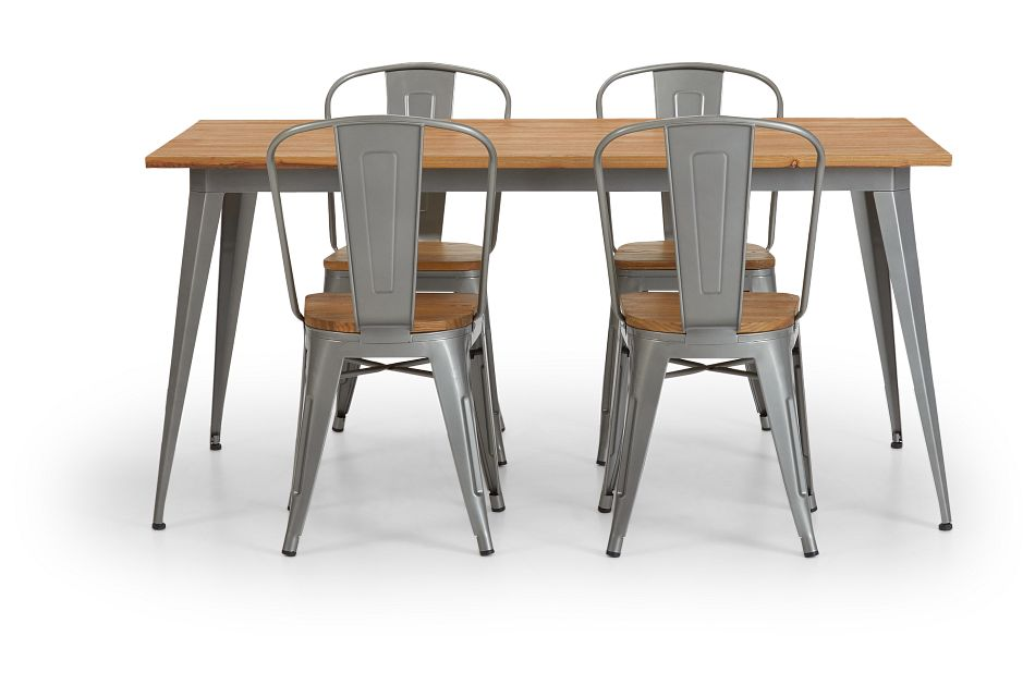 Huntley Light Tone Rect Table & 4 Wood Chairs
