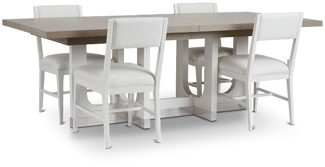 Marley Light Tone Rect Table & 4 Chairs