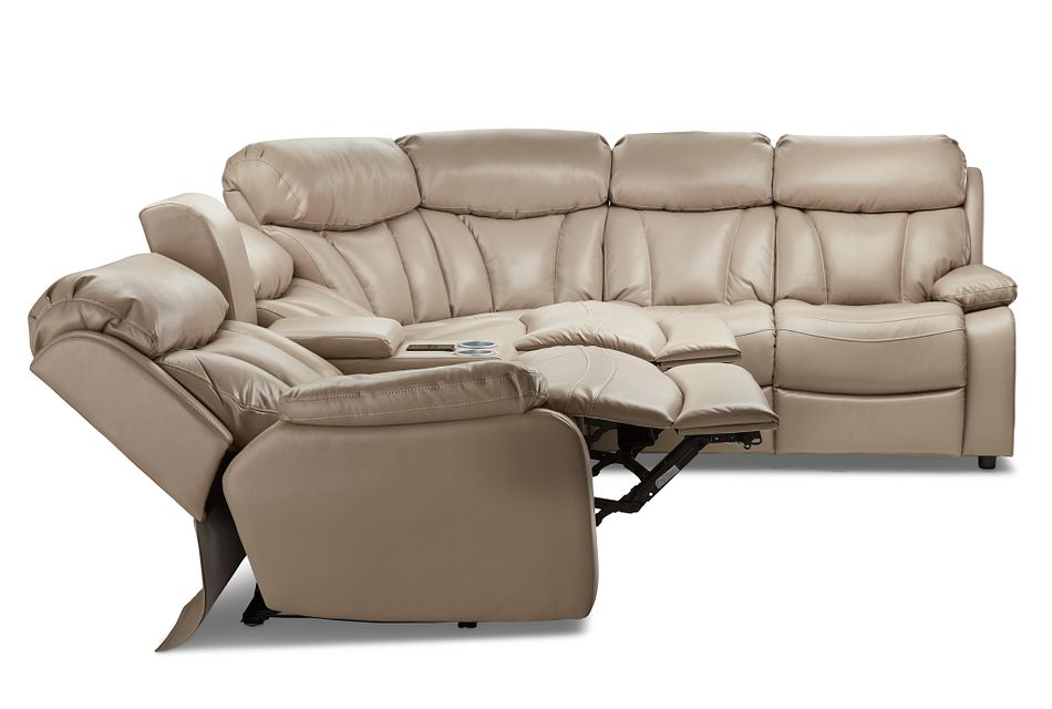 Dustin Beige Micro Small Power Sectional W/ Right Sleeper