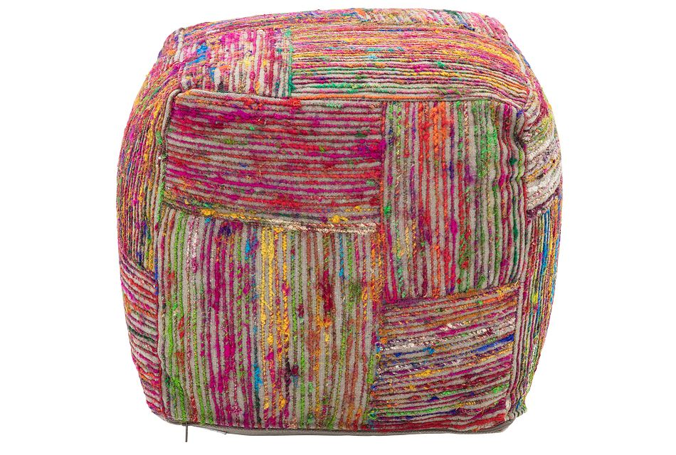 Silk Multicolored Medium Accent Pouf