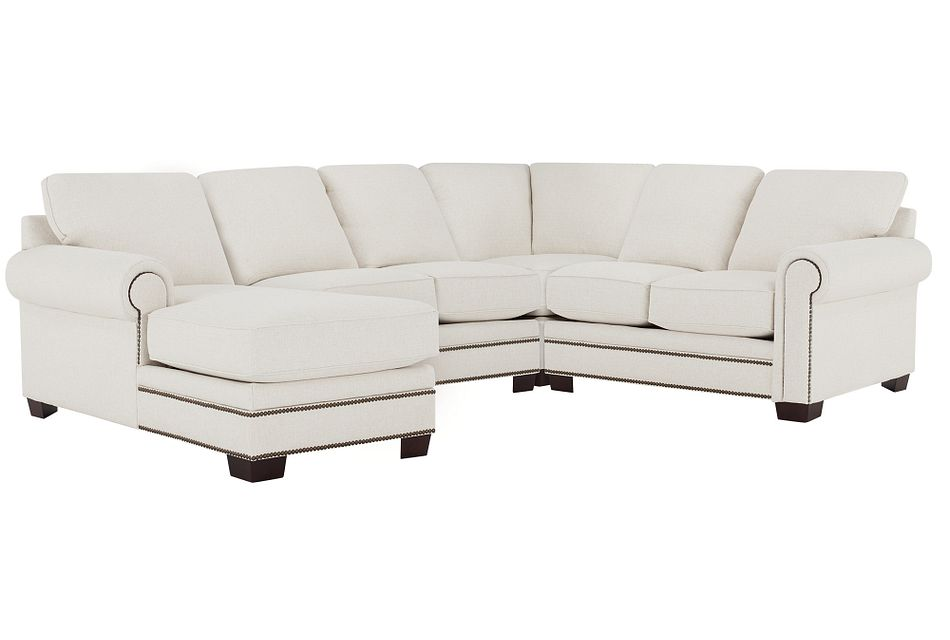 Foster White Fabric Medium Left Chaise Sectional