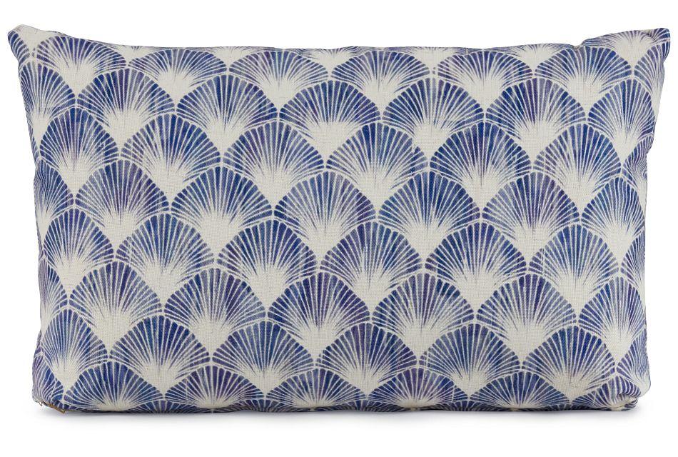 Shell Blue Fabric Lumbar Accent Pillow,  (1)