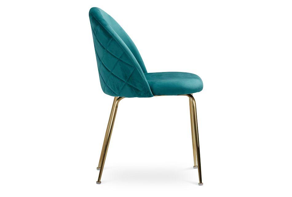 Capri Dark Teal Upholstered Side Chair W/ Gold Legs