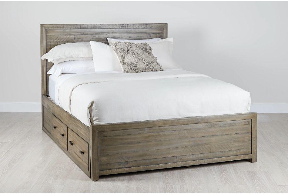 Seattle Gray Wood Platform Storage Bed, Queen (0)