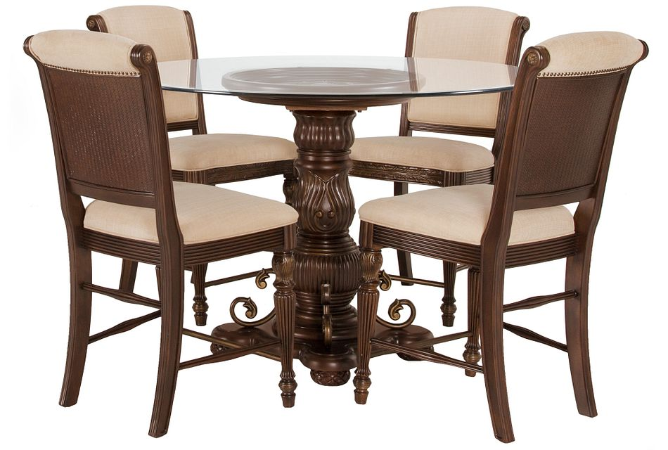 Tradewinds DARK TONE GLASS High Table & 4 Upholstered Barstools