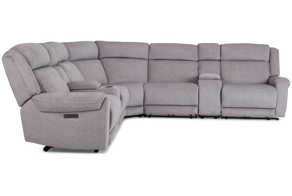 Beckett Gray Micro Large Dual Power Reclining Two-Arm Sectional,  (2)