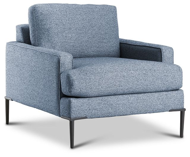 Morgan Blue Fabric Chair With Metal Legs (1)