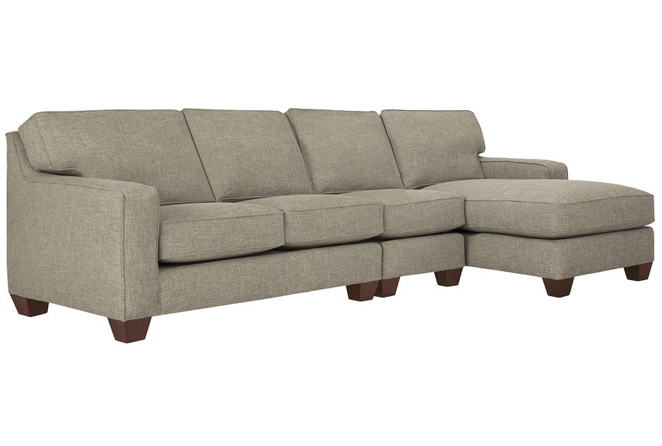 York Pewter Fabric Small Right Chaise Sectional
