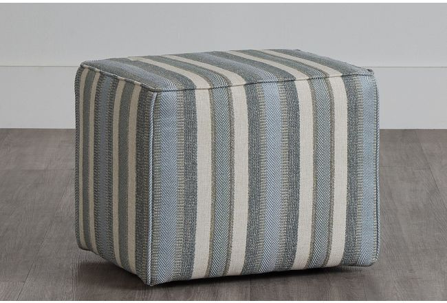 Abode Green Fabric Accent Pouf