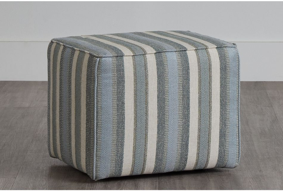 Abode Green Fabric Accent Pouf,  (0)