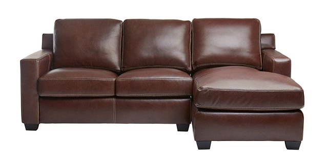 Carson Medium Brown Leather Small Right Chaise Sectional (3)