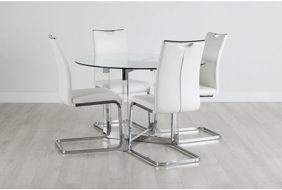 Denmark White Glass Round Table & 4 Upholstered Chairs,  (0)