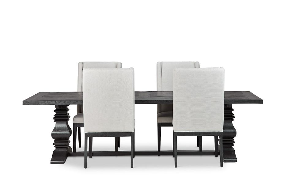 "Hadlow Black 110"" Table & 4 Upholstered Chairs"