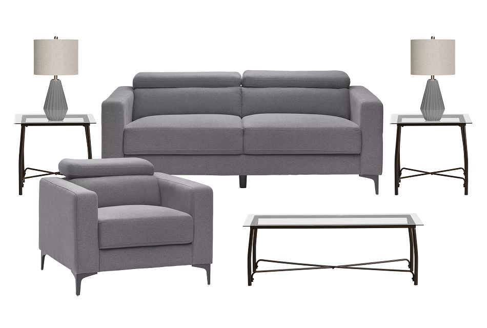 Trenton Dark Gray Fabric 7-piece Living Room Package
