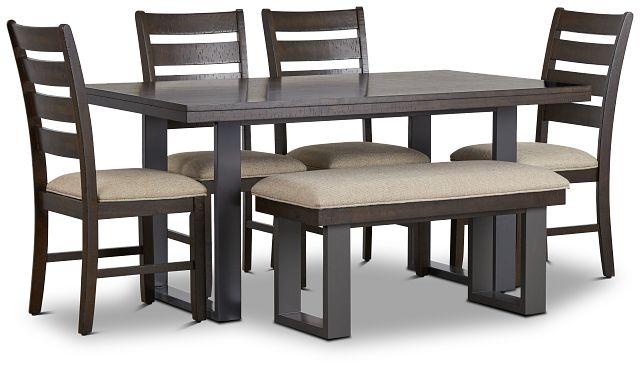 Sawyer Dark Tone Rect Table, 4 Chairs & Bench (2)