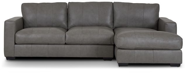 Dawkins Gray Leather Right Chaise Sectional (2)