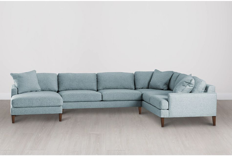 Morgan Teal Fabric Medium Left Chaise Sectional W/ Wood Legs