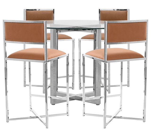Amalfi Brown Glass High Table & 4 Metal Barstools