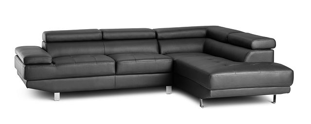 Zane Black Micro Right Chaise Sectional (1)