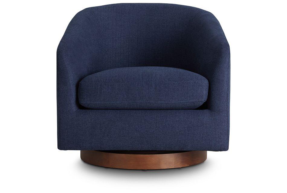 Paloma Dark Blue Micro Swivel Accent Chair