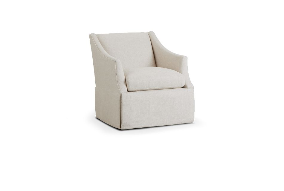 Clayton White Fabric Swivel Accent Chair,  (1)