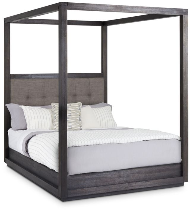 Madden Gray Fabric Canopy Bed (1)