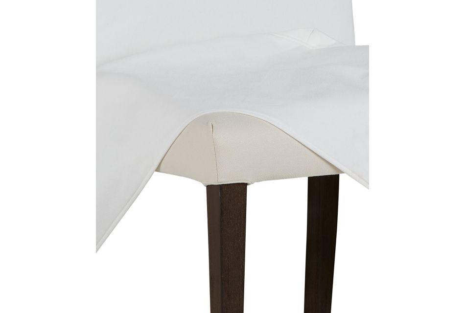 Harbor White Long Slipcover Chair With Medium-tone Leg