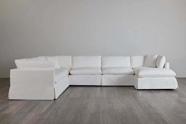 Raegan White Fabric Large Right Chaise Sectional (3)