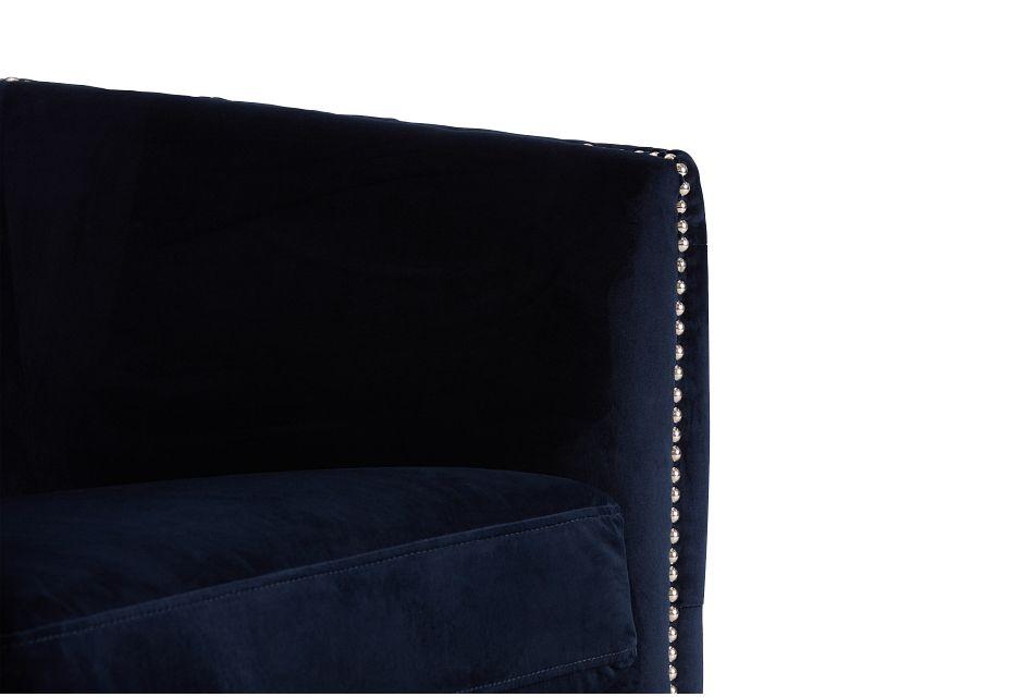 Naomi Dark Blue Micro Swivel Accent Chair