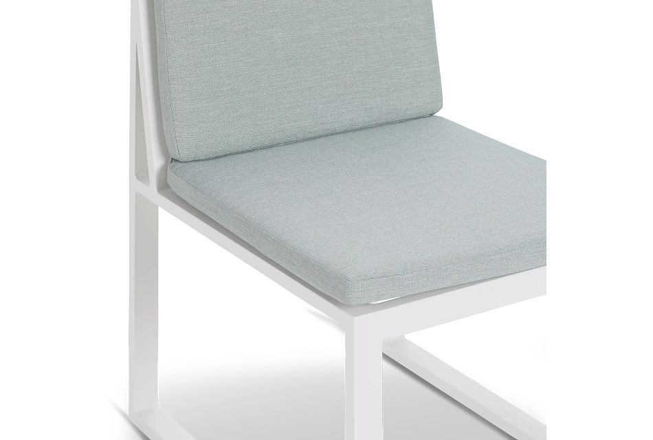 "Linear White Teal 87"" Aluminum Table & 4 Cushioned Side Chairs"