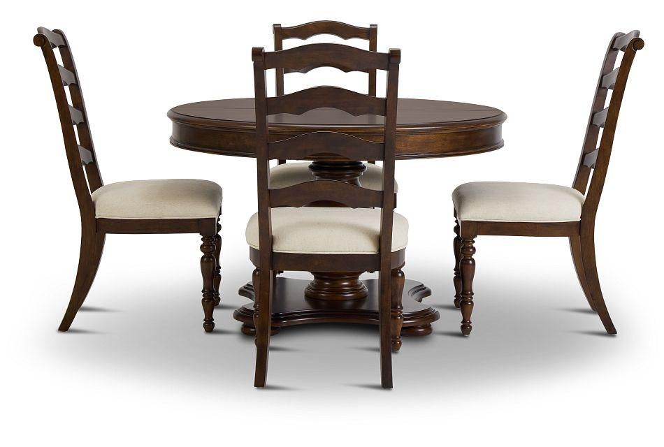 Savannah Dark Tone Round Table & 4 Chairs,  (2)