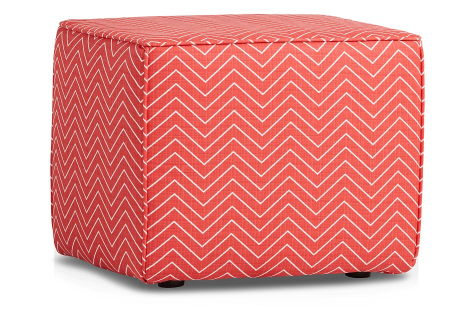 Chevron Coral Geometric Indoor/outdoor Accent Ottoman