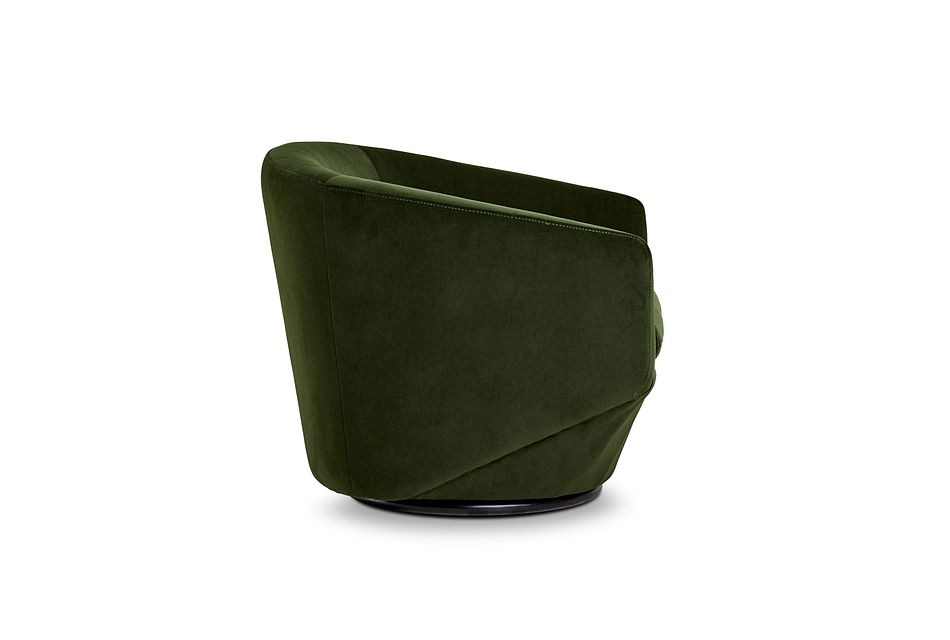 Darian Dark Green Velvet Swivel Accent Chair
