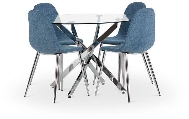 Havana Chrome Blue Round Table & 4 Upholstered Chairs (1)