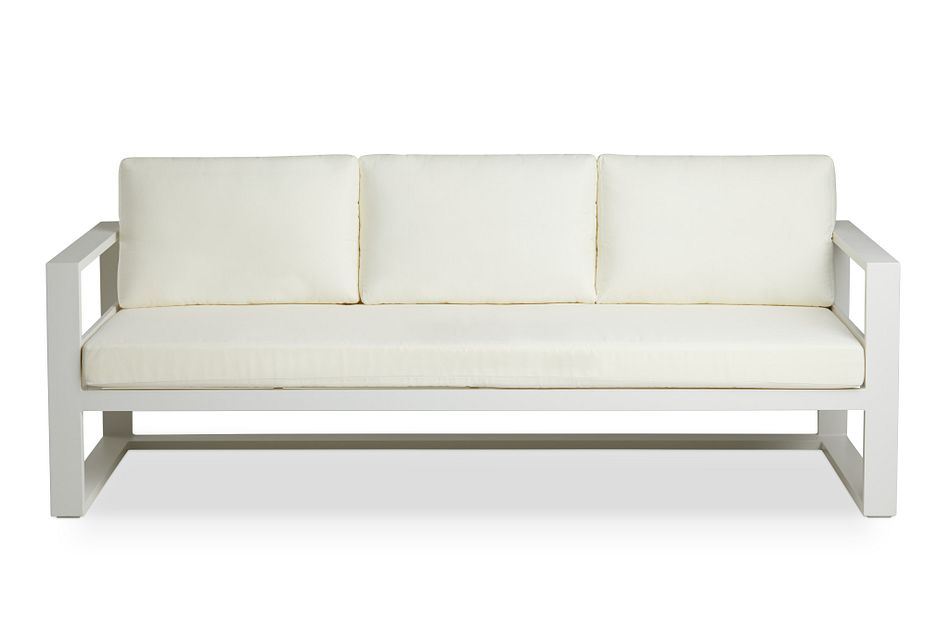 Lisbon White Aluminum Sofa