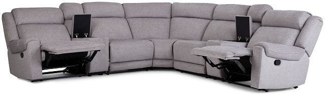 Beckett Gray Micro Large Dual Manually Reclining Two-arm Sectional (2)