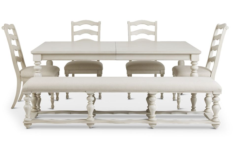 Savannah Ivory Rect Table, 4 Chairs & Bench
