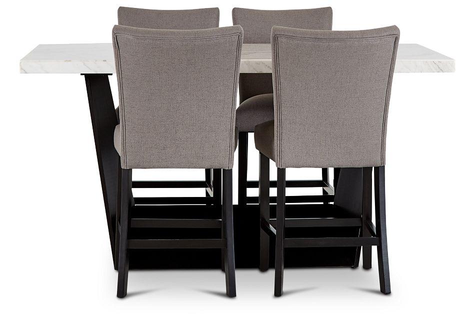 Auburn White High Table & 4 Dark Gray Upholstered Barstools, %%bed_Size%% (2)