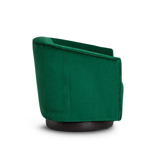 Charlotte Dark Green Velvet Swivel Accent Chair (2)