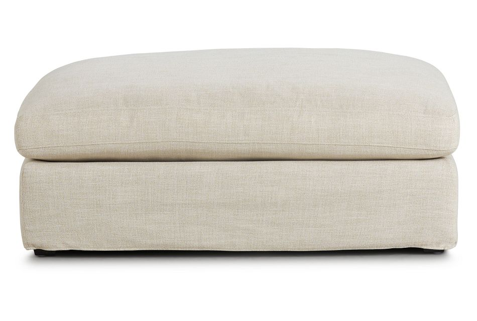 Willow Light Beige Fabric Ottoman