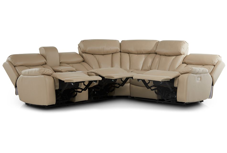 Dustin Beige Micro Left Console Love Reclining Sectional