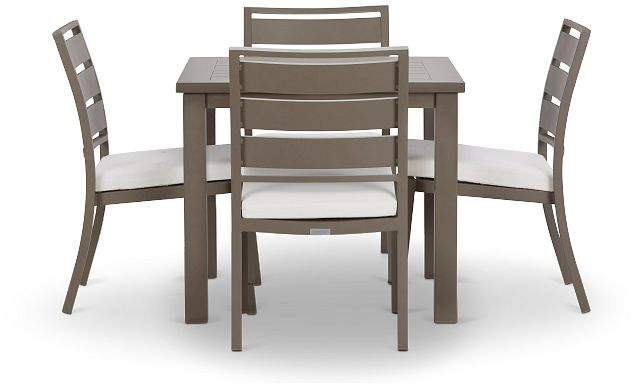 """Raleigh White 35"""" Square Table & 4 Cushioned Chairs (1)"""