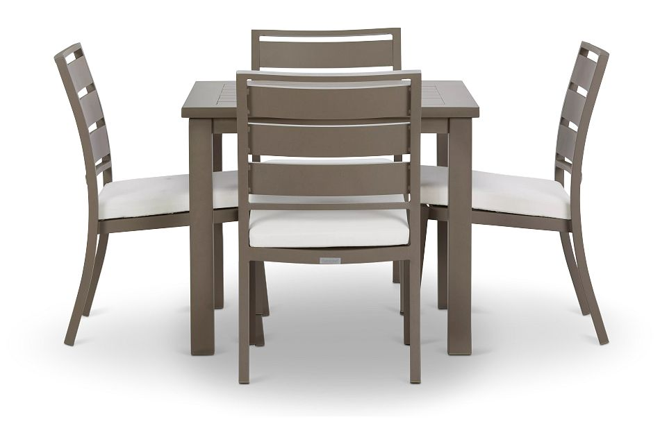 "Raleigh White 35"" Square Table & 4 Cushioned Chairs"