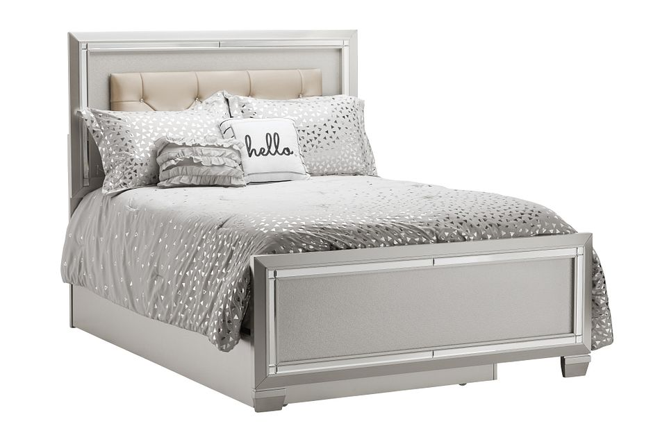 Platinum Silver Uph Panel Trundle Bed