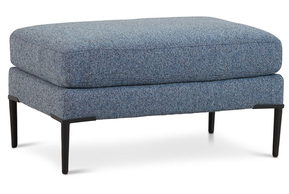 Morgan Blue Fabric Ottoman With Metal Legs