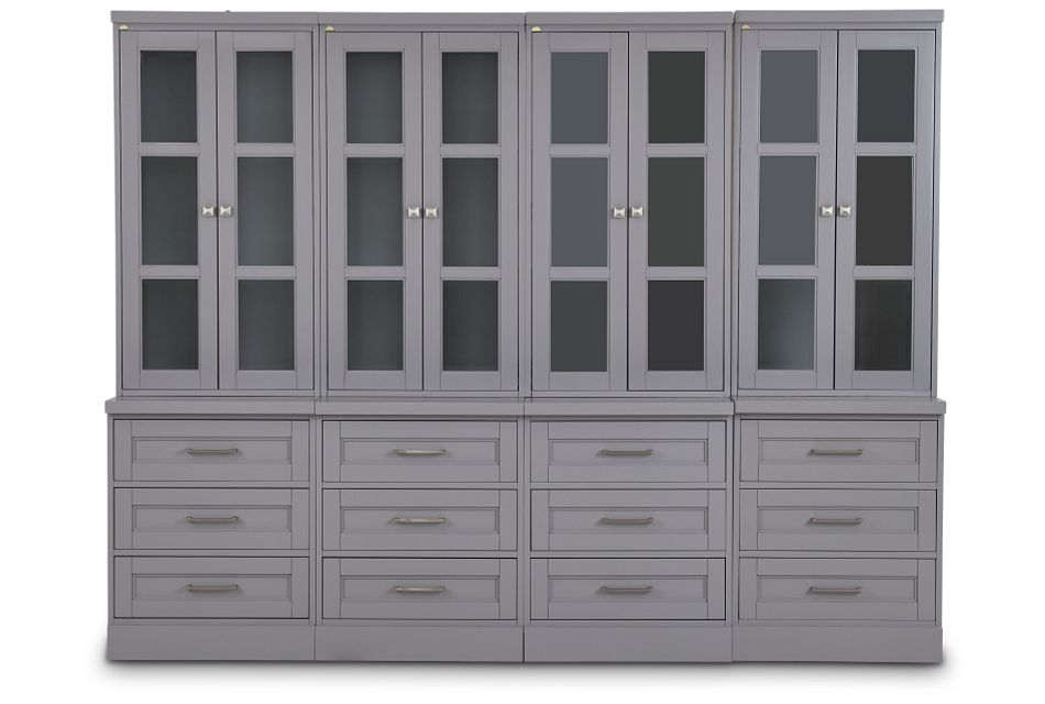Newport Gray Drawer Bookcase Wall,  (1)