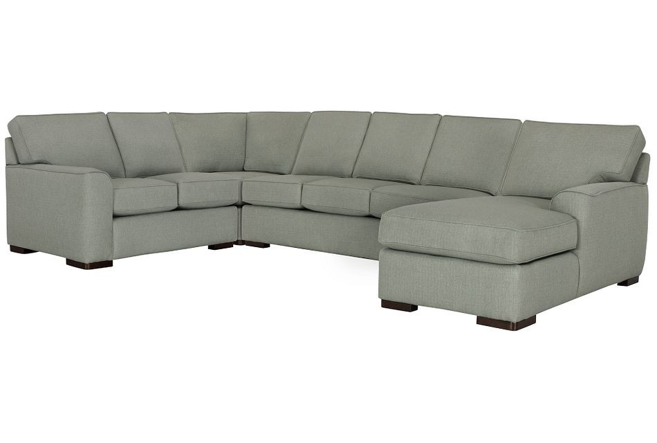 Austin Green Fabric Right Chaise Memory Foam Sleeper Sectional